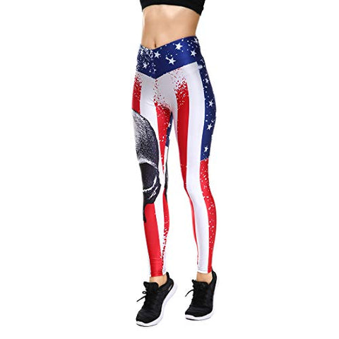 Lesubuy V Wide Waistband Full Length High Waisted Compression Gym Athletic Stripe Skull Leggings Workout For Women S Bright