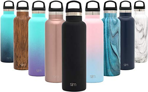 Simple Modern 32Oz Ascent Water Bottle - Hydro Vacuum Insulated Flask W/Handle Lid - Double Wall Stainless Steel Reusable - Leakproof -Midnight Black