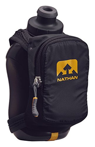 Nathan Ns4859 Speedshot Plus Quick Grip 12 Oz Running Water Bottle Flask With Zip Pocket, Black