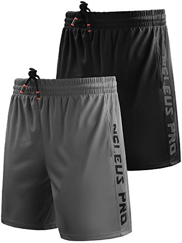 Neleus Men'S 7  Workout Running Shorts With Pockets,6056,2 Pack,Black,Grey,Us S,Eu M