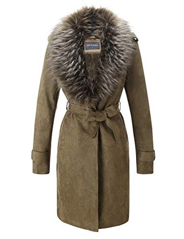 Bellivera Women'S Faux Suede Long Jacket Lapel Outwear Trench Coat Cardigan With Detachable Faux Fur Collar For Winter