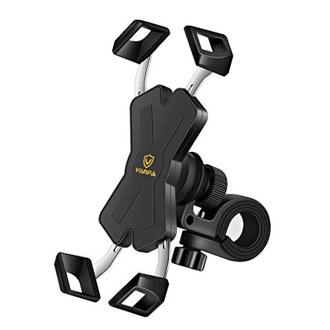 Visnfa New Bike Phone Mount With Stainless Steel Clamp Arms Anti Shake And Stable 360 Rotation Bike Accessories/Bike Phone Holder For Any Smartphones Gps Other Devices Between 4 And 7 Inches