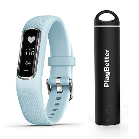 Garmin Vivosmart 4 (Azure Blue/Silver) Smart Activity Tracker Power Bundle | With Playbetter Portable Charger | Fitness Activity Tracker | Heart Rate
