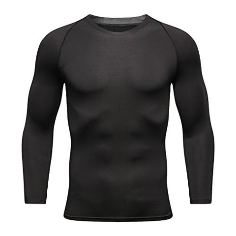 Neko Sports Mens Long Sleeve T Shirts Cool Dry Compression Shirt Long Sleeve Workout Shirts For Men (Medium-, Black)