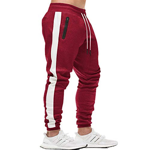 Men'S Gym Workout Stripe Jogger Pants Slim Fit Tapered Sweatpants Running Track Pants With Zipper Pockets Red M