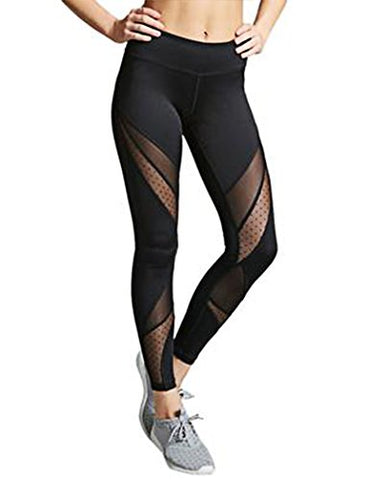 Women'S Mesh Panel Side High Waist Leggings Skinny Workout Stretchy Yoga Pants Sport Tights M