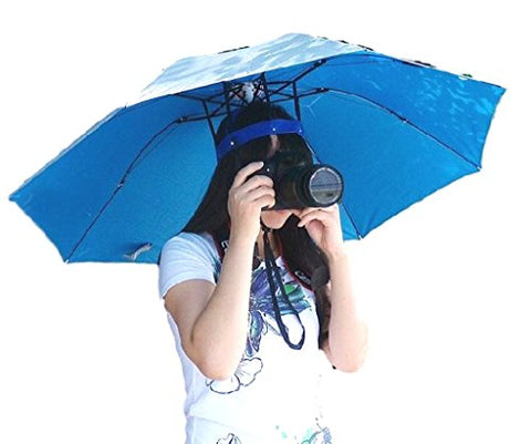 Fishing Gardening Headwear Umbrella Hat Cap 39.37  Diameter Gag Gift Hands Free For Sun Rain Beach Party Pool With Head Strap