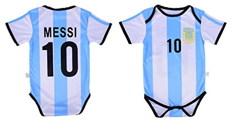 Leo Messi #10 Argentina Soccer Jersey Baby Infant &Amp; Toddler Onesie Romper Premium Quality (12-18, Home)