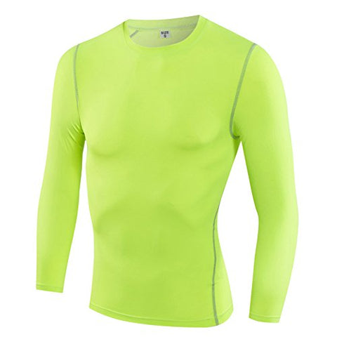 Toptie Men'S Compression Base Layer Long Sleeve Top-Lime-L