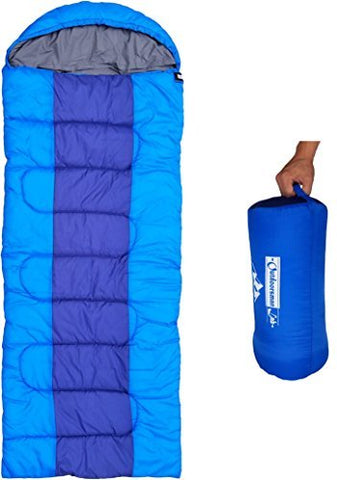 Outdoorsman Lab Camping Accessories  87  X 32.5  Soft Sleeping Bag With Compression Sack - Kids Men Women 3-4 Season Ultralight Compact Packable Bags (Xl, Sky Blue)