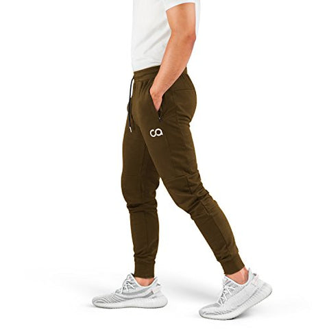 Contour Athletics Men'S Joggers (Cruise) Sweatpants Men'S Active Sports Running Workout Pants With Zipper Pockets (Olive) (Large) (Ca1003-Lo)
