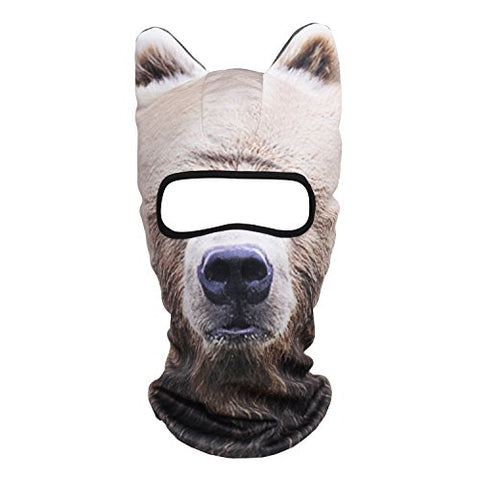 Jiusy 3D Animal Ears Balaclava Breathable Cover Hood Face Mask Sun Protection For Skiing Snowmobile Riding Hunting Music Festivals Raves Halloween Party Activities Russian Brown Bear Meb-12