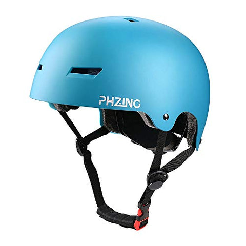 Phzing Kid'S Bike Helmet With Adjustable System Ideal For Skateboard Longboard Scooter Skate/Inline Skating For Adults/Youth/Kids (Blue, Small)