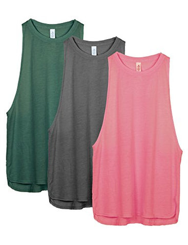 Icyzone Yoga Tops Activewear Workout Clothes Sports Racerback Tank Tops For Women (Xl, Army/Charcoal/Pink)