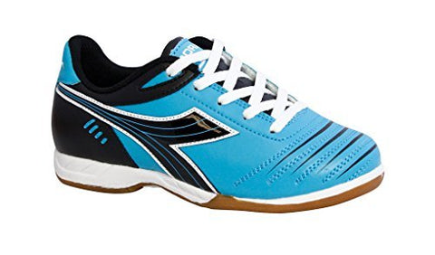 Diadora Kids' Cattura Id Jr Indoor Soccer Shoes (13.5 Little Kid M, Columbia Blue/Black)