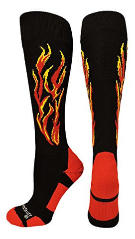 Madsportsstuff Flame Soccer Style Socks (Black/Red/Gold, Large)