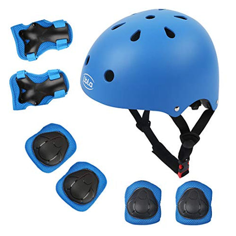 Lbla Helmet And Pads For Kids 3-8 Years Toddler Helmet,Kids Bike Skateboard Helmet,Helmet Knee Elbow Wrist For Scooter,7Pcs Adjustable Protective Gear Set For Kids(Blue)