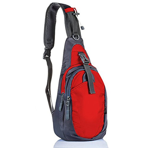 Lc Prime Sling Bag Bag Chest Shoulder Unbalance Gym Fanny Backpack Sack Satchel Outdoor Bike Nylon Fabric Red