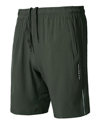 Aufgevals Men'S Quick Dry Breathable Gym Running Shorts M Green