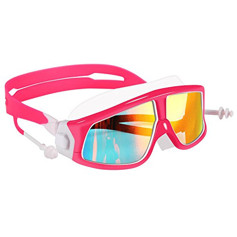 Spinosaurus Kids Swim Goggles(Age 3-15 Years), Fashionable, Anti-Fog,Uv Protection, No Leaking, Coated Lens,With Case And Earplugs, Hd Swim Goggles For Kids Youth And Teenagers (Pink White)