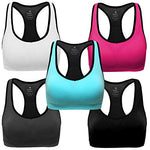 Mirity Women Racerback Sports Bras - High Impact Workout Gym Activewear Bra Color Black Grey Blue Hotpink White Size M