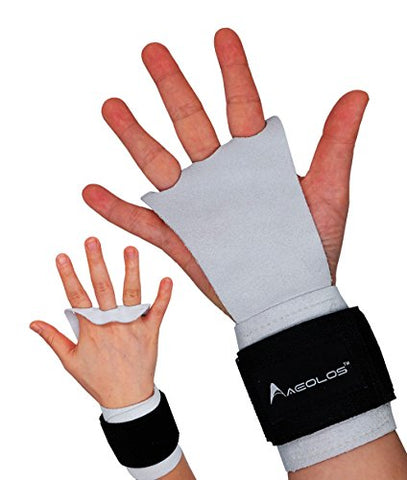 Aeolos Leather Gymnastics Hand Grips-Great For Gymnastics,Weight Lifting,Pull Ups,Kettlebells And Crossfit Training (White, Small)