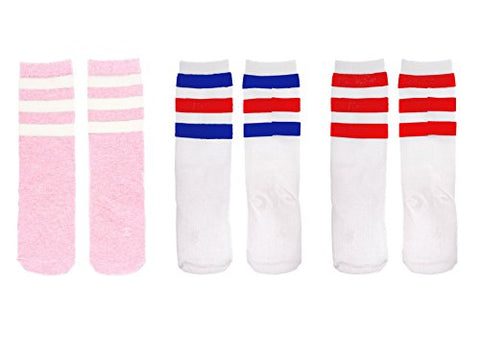 Zando Kids Child Cotton Three Stripes Sport Soccer Team Socks Uniform Tube Cute Knee High Stocking For Boys Girls I 3 Pairs Pink White (Blue Red)