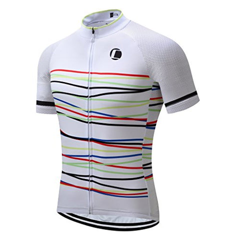 Coconut Ropamo Summer Men Cycling Jersey Road Bike Shirt Short Sleeve Breathable 100% Polyester (Xl, White&Amp;Curve)