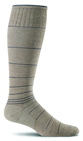 Sockwell Men'S Merino Wool Circulator Compression Socks (Grey Stripe, M/L)