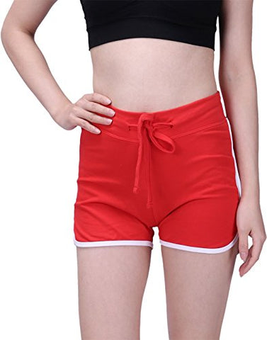 Hde Women'S Retro Fashion Dolphin Running Workout Shorts (Red, X-Large)