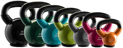 Bintiva Kettlebells - Professional Grade, Vinyl Coated, Solid Cast Iron Weights With A Special Protective Bottom
