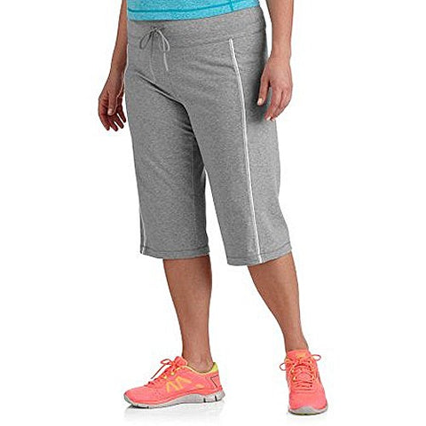 Danskin Now Women'S Plus-Size Dri-More Core Piped Bermuda Shorts (1X Plus, Grey)