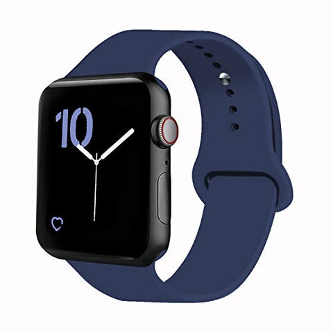 Vati Sport Band Compatible With Watch Band 40Mm 44Mm 42Mm 38Mm, Soft Silicone Sport Strap Replacement Bands Compatible With 2018 Watch Series 4/3/2/1, 42Mm 44Mm M/L (Midnight Blue)