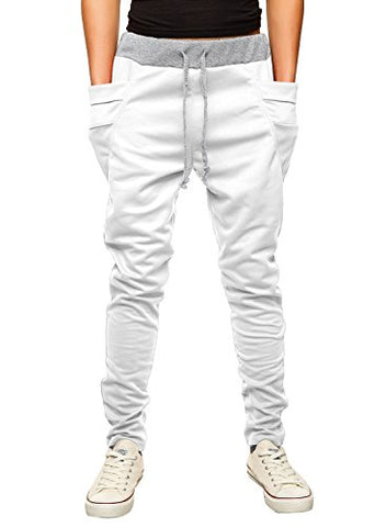 Hemoon Mens Jogging Pants Tracksuit Bottoms Training Running Trousers White L