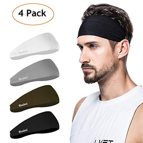 Poshei Mens Headband , Mens Sweatband &Amp; Sports Headband For Running, Crossfit, Cycling, Yoga, Basketball - Stretchy Moisture Wicking Unisex Hairband