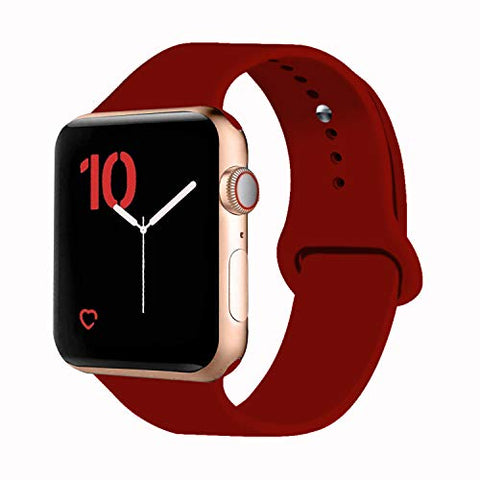 Vati Sport Band Compatible With Watch Band 40Mm 44Mm 42Mm 38Mm, Soft Silicone Sport Strap Replacement Bands Compatible With 2018 Watch Series 4/3/2/1, 38Mm 40Mm S/M (Wine Red)