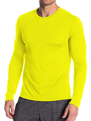 Miracle(Tm) Wicking Athletic Underscrub Tshirt For Mens - Adult Neon Sport Running Fitness Long Sleeves Yellow Shirt (Xs)