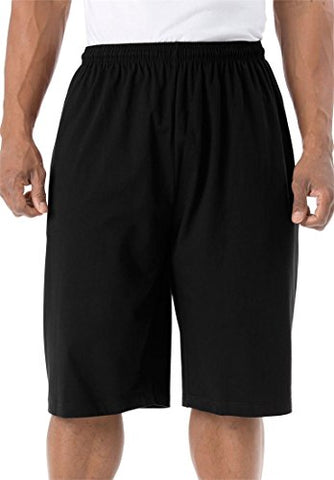 Kingsize Men'S Big &Amp; Tall Lightweight Extra Long Shorts, Black Big-4Xl