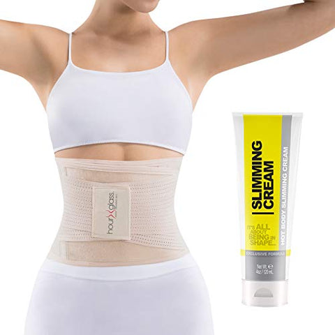 Slim Abs Waist Trainer Sweat Belt With Slimming Cream  Waist Trimmer For Women And Thermogenic Workout Gel (Beige, S/M)