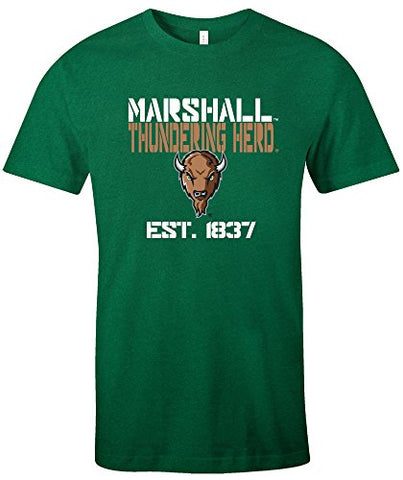 Ncaa Marshall Thundering Herd Est Stack Jersey Short Sleeve T-Shirt, Kelly,Large