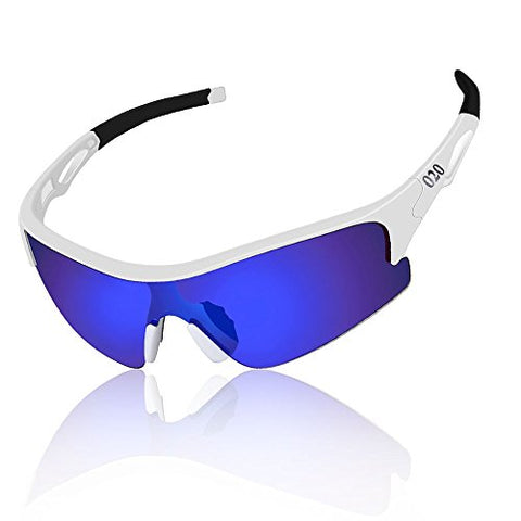 O2O Polarized Sports Sunglasses For Men Women Teens Running Driving Golf Durable Frame (White, Blue)