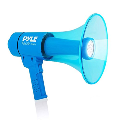 Waterproof Megaphone Bullhorn And Flashlight - Portable Compact 40W Pa Includes Rechargeable Battery, Alarm Siren, Adjustable Volume, Handheld Lightweight Speaker, Led, Indoor Outdoor - Pyle Pmp67Wltb