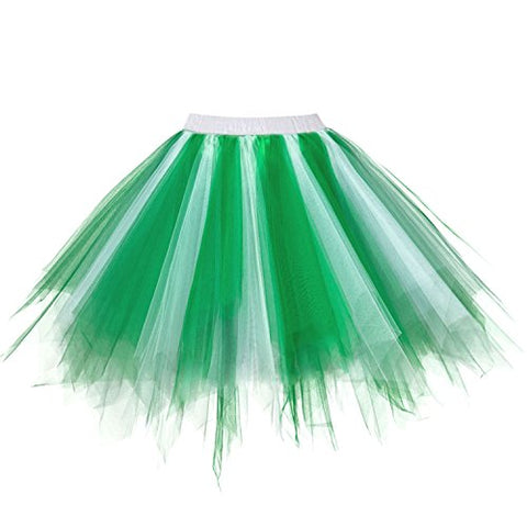 Ellames Women'S Vintage 1950S Tutu Petticoat Ballet Bubble Dance Skirt Green-White L/Xl