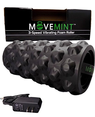 Movemint Vibrating Foam Roller - Rechargeable, High-Intensity, 3-Speed, Electric Massager