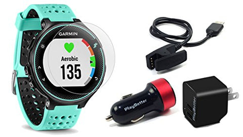 Garmin Forerunner 235 (Frost Blue) Gps Running Watch Bundle | With Hd Screen Protector Film (X4) &Amp; Playbetter Usb Car/Wall Adapters | On-Wrist Heart Rate | Elevate Heart Rate Technology | Vo2 Max