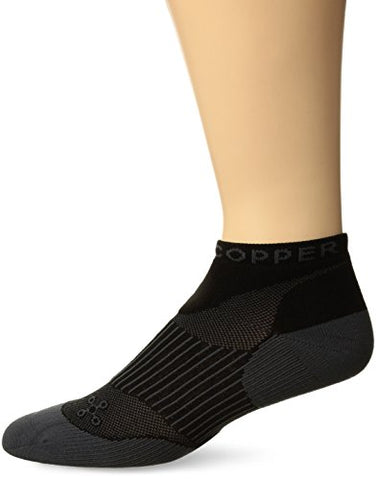 Tommie Copper Women'S Performance Compression Ankle Socks, Black W/ Grey, 10-12.5