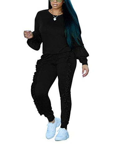 Akmipoem Fashion Two Piece Outfit Ruffle Suit Sweatsuit Tracksuit For Young Women,Black,Xx-Large/Us18