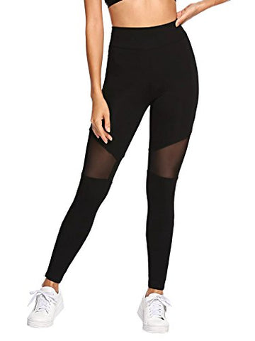 Sweatyrocks Women'S Stretchy Skinny Sheer Mesh Insert Workout Leggings Yoga Tights Black #7 S