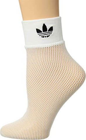 Adidas Women'S Originals Fashion Fishnet Ankle Socks , White/Black, 5-10