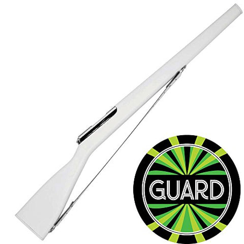 Dsi Director'S Showcase 39 Inch Elite 4 Color Guard Rifle And Decal Bundle (Medium Weight) (Silver Bolt/White Strap)
